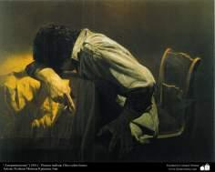 """Arrepentimiento"" (1981) - Pintura realista; Óleo sobre lienzo- Artista: Profesor Morteza Katuzian, Irán"