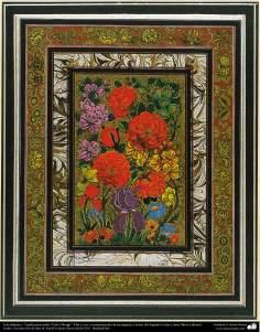"Islamic Art - Persian Tazhib style ""Gol-o Morgh"" - flower and bird (44)"