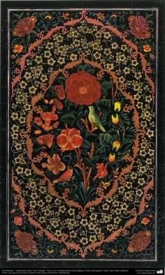 "Islamic Art - Tazhib Persian style ""Gol-o Morgh"" - flower and bird - (100)"