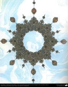 イスラム美術(コーランなどの貴重な書物でのペルシアのトランジとシャムス(太陽)スタイルのタズヒーブ(Tazhib)- 28