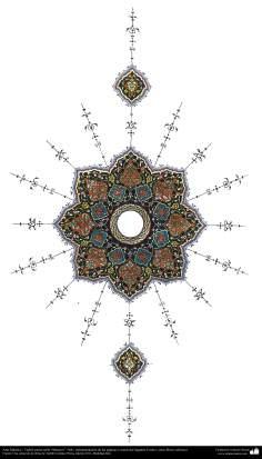 イスラム美術(コーランなどの貴重な書物でのペルシアのトランジとシャムス(太陽)スタイルのタズヒーブ(Tazhib)- 26
