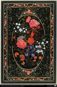 "Arte Islámico - Tazhib estilo ""Gol-o Morgh"" - Flor y ave (45)"
