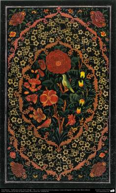 "Arte Islámico - Tazhib persa estilo ""Gol-o Morgh"" -Flor y ave- (100)"