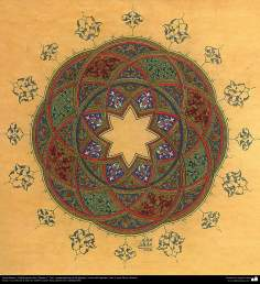 "Islamic Art - Tazhib Persian, ""Shams-e"" -Sol- style; (ornamentation of the pages and texts of the Quran -26"