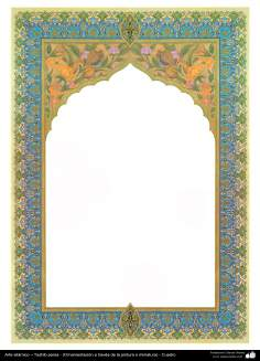 Arte islámico – Tazhib persa - (Ornamentación a través de la pintura o miniatura) - Cuadro -65