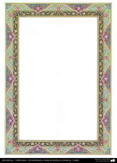 Arte islámico – Tazhib persa - (Ornamentación a través de la pintura o miniatura) - Cuadro -66