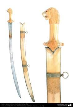 Arte islámico- Espada y vainas decoradas con finos detalles, India, siglo IXX.