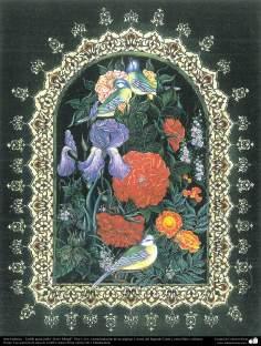 """Islamische Kunst -Tazhib vom persischen Stil """"Gol-o Morgh"""" - Vogel und Blume - 35 - Tazhib (Verzierungen von wertvollen Seiten und Texten)"""