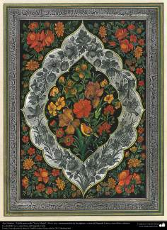 """Islamic Art -Tazhib of persian style """"Gol-o Morgh"""" -Bird and Flowe (ornamentation of valuable pages and texts like the Holy Qur'an) - 21"""