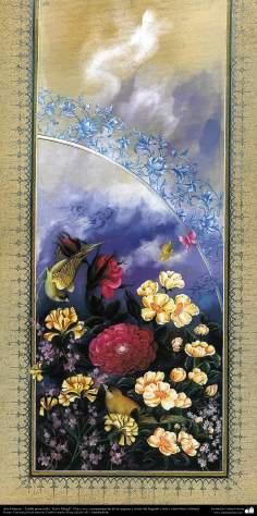 """Islamische Kunst -Tazhib vom persischen Stil """"Gol-o Morgh"""" - Vogel und Blume - 20 - Tazhib (Verzierungen von wertvollen Seiten und Texten)"""