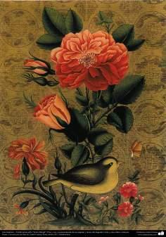 """Art islamique. Persique Tazhib style """"Goal-o Morgh"""" avec des fleurs et des oiseaux -"""