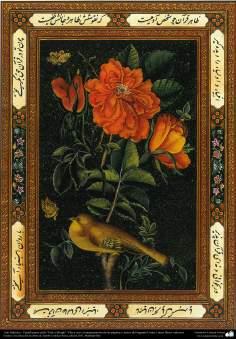"""Art islamique. Persique Tazhib style """"Goal-o Morgh"""" avec des fleurs et des oiseaux -24"""