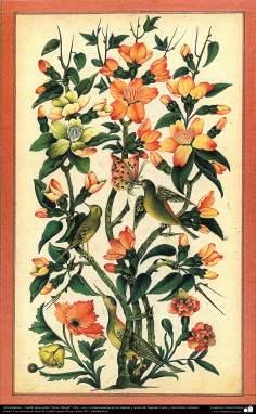 """Islamische Kunst - Tazhib Stil """"Gol or Morgh""""  Blume und Vogel - 12 - Tazhib (Verzierungen von wertvollen Seiten und Texten)"""