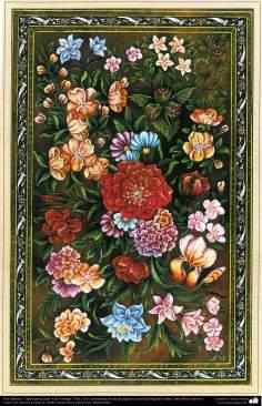 """Islamische Kunst- Tazhib Persisches Stil """"Gol-r Morgh"""" - Blume und Vogel - 14 - Tazhib (Verzierungen von wertvollen Seiten und Texten)"""