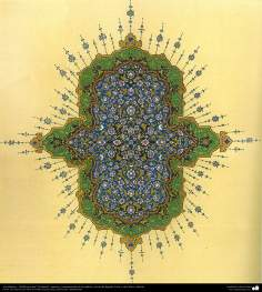 Arte islamica-Tazhib(Indoratura) persiana lo stile Goshaiesh-Ornamentale e calligrafico-22
