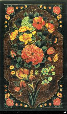 """Art islamique. Persique Tazhib, fait avec le style """"Gol-o Morgh"""" - fleurs et d'oiseaux - 30"""