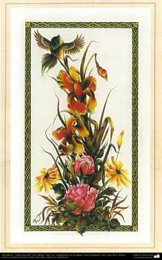 "Arte Islámico-Tazhib persa estilo ""Gol-o Morgh"" -Flor y ave- 32"