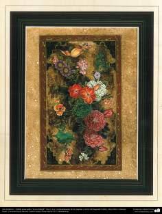 """Art islamique. Persique Tazhib, fait avec """"Gol-o Morgh« style - fleurs et d'oiseaux - 31"""