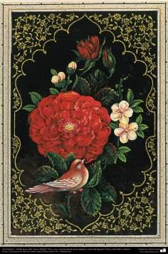 "Arte Islámico-Tazhib persa estilo ""Gol-o Morgh"" -Flor y ave- 27"