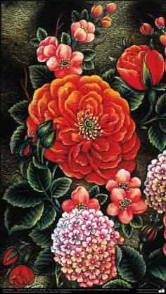 "Arte Islámico-Tazhib persa estilo ""Gol-o Morgh"" -Flor y ave- 36"