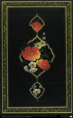 """Art islamique. Le style Tazhib Persique """"Gol-o Morgh"""" Flor et Ave- 25"""