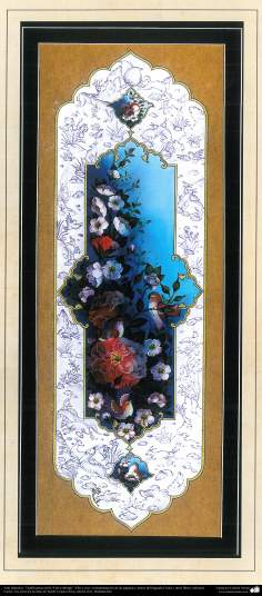 """Art islamique. Persique Tazhib, fait avec """"Gol-o Morgh« style - fleurs et d'oiseaux - 2"""