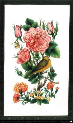 "Arte Islámico-Tazhib persa estilo ""Gol-o Morgh"" -Flor y ave- 17"