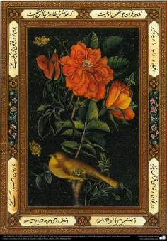 Arte islamica-Tazhib(Indoratura) persiana lo stile Gol o Morgh(Fiori ed uccelli),utilizzata per ornare le pagine e testi dei libri valorosi come Corano-24