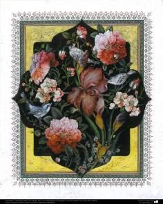 """Исламское искусство - Персидский тезхип , стиль """" Гол и Морг """" (цветы и птица) - Украшение страниц и ценных текстов как Коран - 29"""