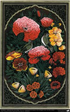 "Arte Islámico-Tazhib persa estilo ""Gol-o Morgh"" -Flor y ave - 6"