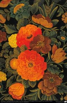 """Art islamique. Persique Tazhib style """"Goal-o Morgh"""" avec des fleurs et des oiseaux - 38"""