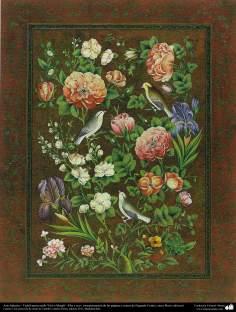 """Art islamique. Tazhib Persique """"Gol-o Morgh« style - fleurs et d'oiseaux - 4"""