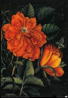 "Arte Islámico-Tazhib persa estilo ""Gol-o Morgh"" -Flor y ave- 40"