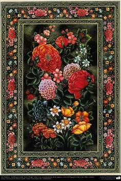 "Arte Islámico-Tazhib persa estilo ""Gol-o Morgh"" -Flor y ave- 41"