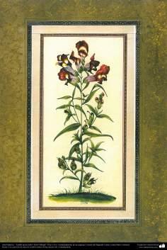 """Art islamique. Persique Tazhib style """"Goal-o Morgh"""" avec des fleurs et des oiseaux - 28"""