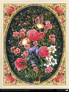 """Art islamique. Persique Tazhib, fait avec """"Gol-o Morgh« style - fleurs et d'oiseaux - 6"""