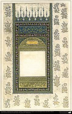 """Arte Islámico - Tazhib persa tipo """"Goshaiesh"""" -apertura-; (ornamentación de las páginas y textos valiosos) - 49"""