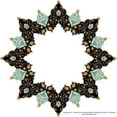 イスラム美術(コーランなどの貴重な書物でのペルシアのトランジとシャムス(太陽)スタイルのタズヒーブ(Tazhib)-98