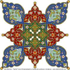 Arte islamica-Tazhib(Indoratura) persiana lo stile Toranj e Shams,Ornamento mediante dipinto o miniatura-42