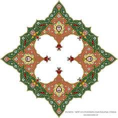"""اسلامی ہنر - فن تذہیب میں """"ترنج و شمس"""" (سورج) کی اسٹائل، قیمتی صفحات اور عبارات کی سجاوٹ کے لیے - ۵۸"""