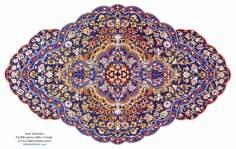 Art islamique - dorure persane style : Toranj  et Shamse  - décoration par la peinture ou la miniature-3