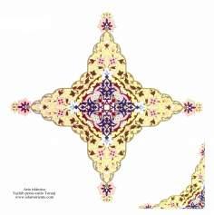 Arte islamica-Tazhib(Indoratura) persiana lo stile Toranj e Shams,Ornamento con dipinto o miniatura-124