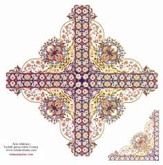 Arte islamica-Tazhib(Indoratura) persiana lo stile Toranj e Shams,Ornamento mediante dipinto o miniatura-125