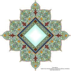 Arte islamica-Tazhib(Indoratura) persiana lo stile Toranj e Shams,Ornamento mediante dipinto o miniatura-79