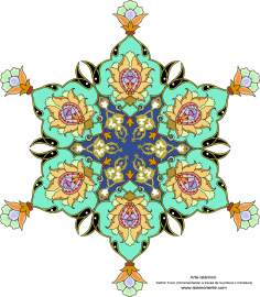 Arte islamica-Tazhib(Indoratura) persiana lo stile Toranj e Shams,Ornamento mediante dipinto o miniatura-44
