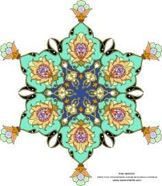 الفن الإسلامي - تذهیب الفارسی بأسلوب البرغموت و الشمس – تزیین من الطریق الرسم أو المنمنمة - 68