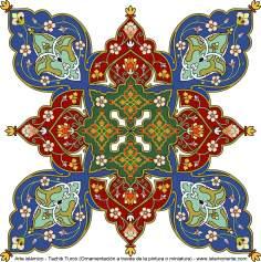 Arte islamica-Tazhib(Indoratura) persiana lo stile Toranj e Shams,Ornamento mediante dipinto o miniatura-72