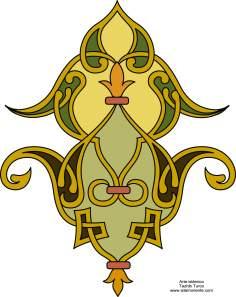 """Islamische Kunst - Türkisches Tazhib - Toranj - 56 - Tazhib (Verzierungen von wertvollen Seiten und Texten) - Tazhib, """"Toranj"""" und """"Shamse"""" Stile (Mandala)"""