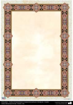 Arte Islâmica - Tazhib persa em quadro (ornamentação através da pintura ou miniatura) 72