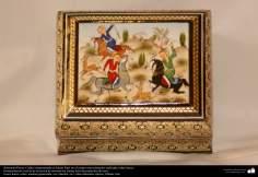 اسلامی ہنر - خاتم کاری کے فن سے ہاتھ سے سجایا ہوا باکس (ایک قسم کا مرصع جڑنا) - ۵۷
